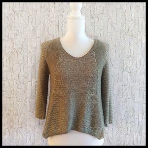 RDI Olive Green 3/4 Sleeve Knit Sweater - Medium